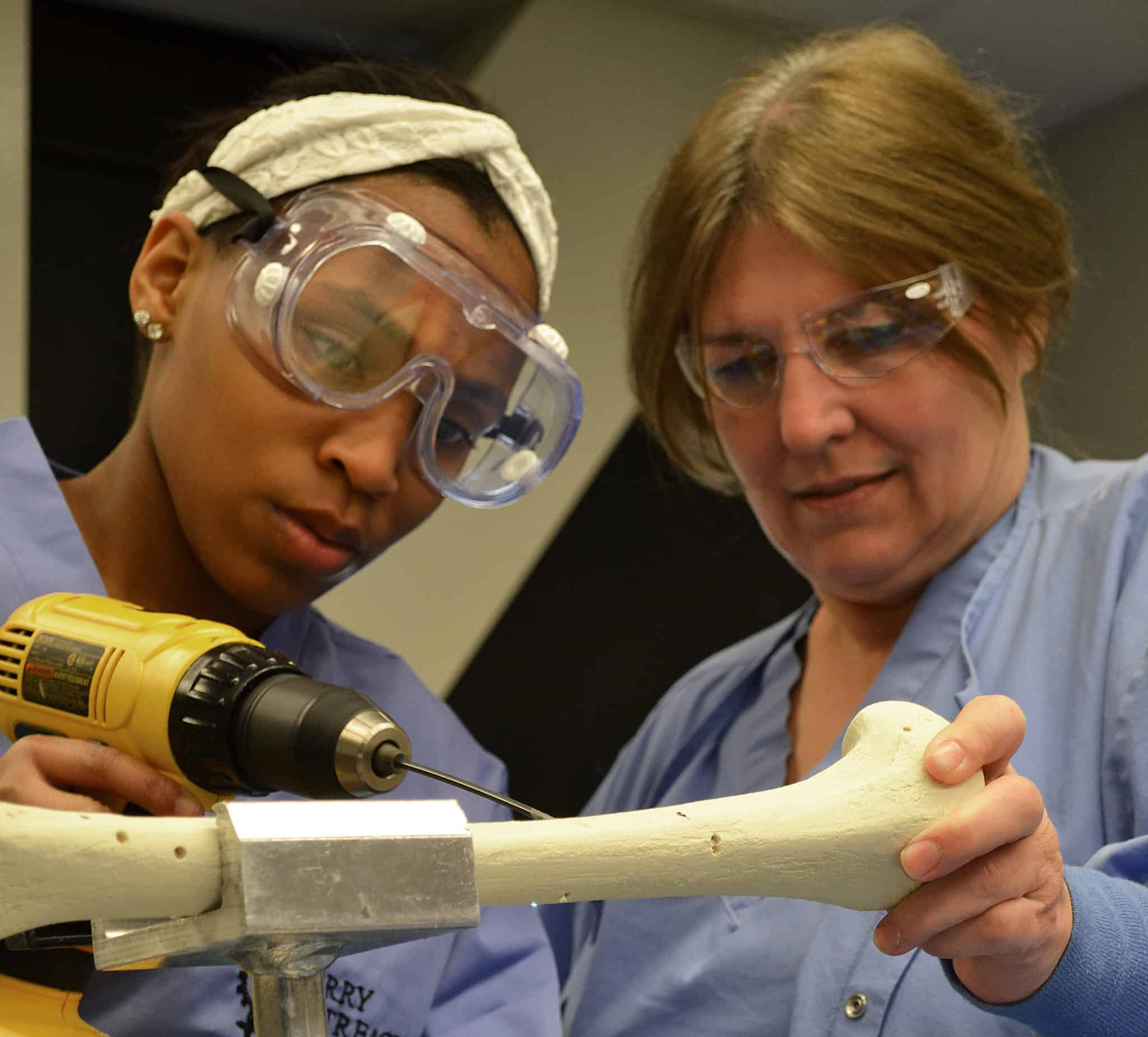 Faculty member working with student
